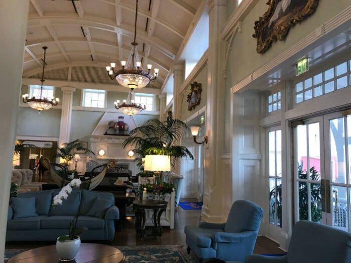 Beautiful chandeliers & comfortable furniture in Disney's Boardwalk Inn lobby