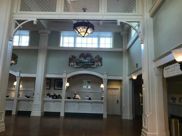Registration desk at beautiful lobby at Disney's Boardwalk