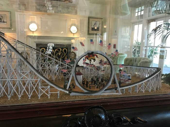 Beautiful roller coaster replica on display at Disney's Boardwalk Inn