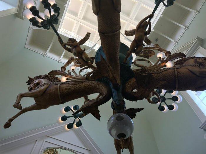 Gorgeous seahorse & cupid fan in lobby of Disney's Boardwalk Inn