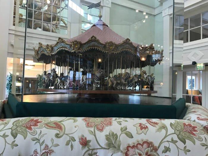 Carousel replica from amusement park on display at Walt Disney World hotel lobby