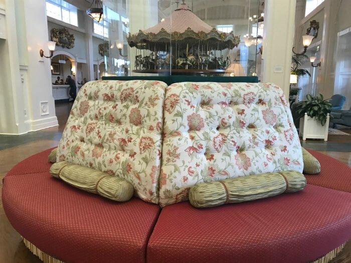 Carousel replica & comfortable sofa in Disney's Boardwalk Inn's lobby