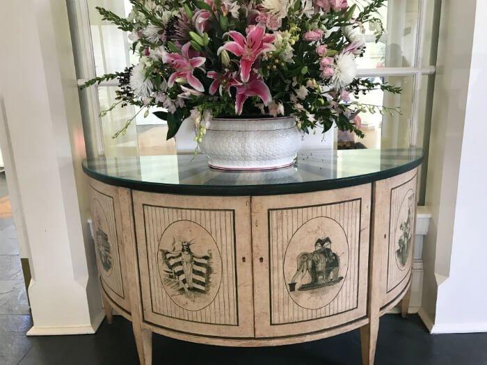 Beautiful flowers & desk at Disney's Boardwalk Inn in Orlando FL