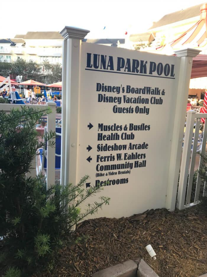 Directions to DIsney's Boardwalk Inn pool, gym, arcade