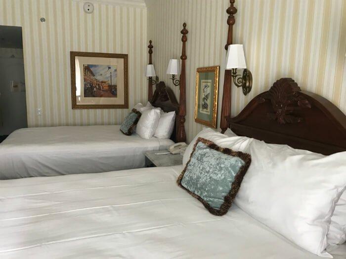 Comfortable beautiful beds at Walt Disney World's Boardwalk Inn in Orlando Florida