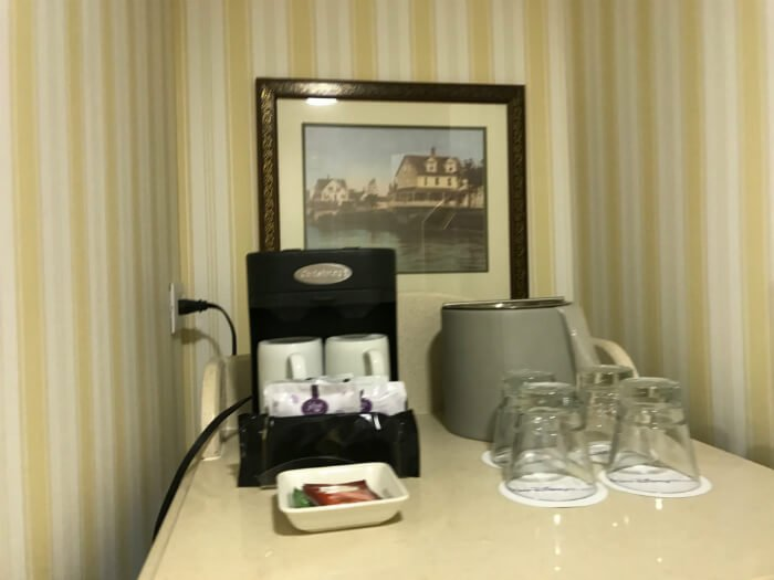 Decorated coffee & drink area to Disney's Boardwalk Inn rooms