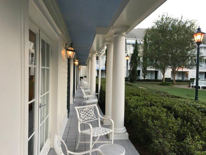 Patio & balcony area outside Disney's Boardwalk Inn hotel Orlando FL