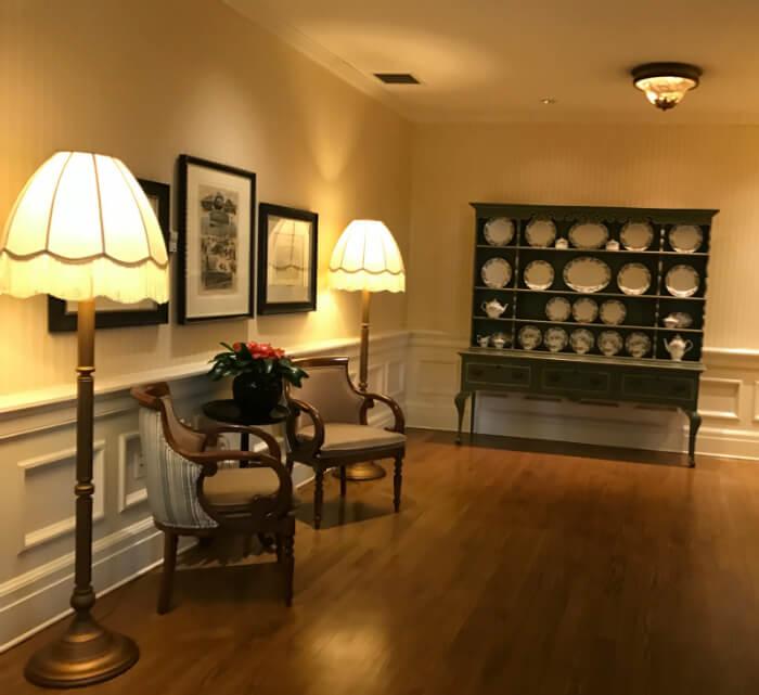 A beautiful hallway with hardwood floors at Disney World's Boardwalk Inn