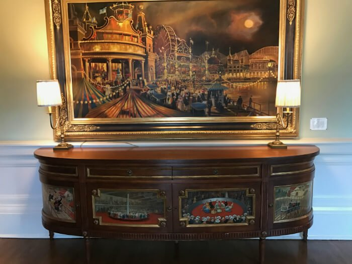 Beautiful furniture & picture with amusement park theme at Disney's Boardwalk Inn