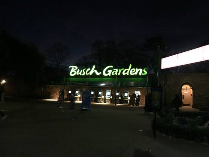 outside Busch Gardens theme park in Williamsburg Virginia at night