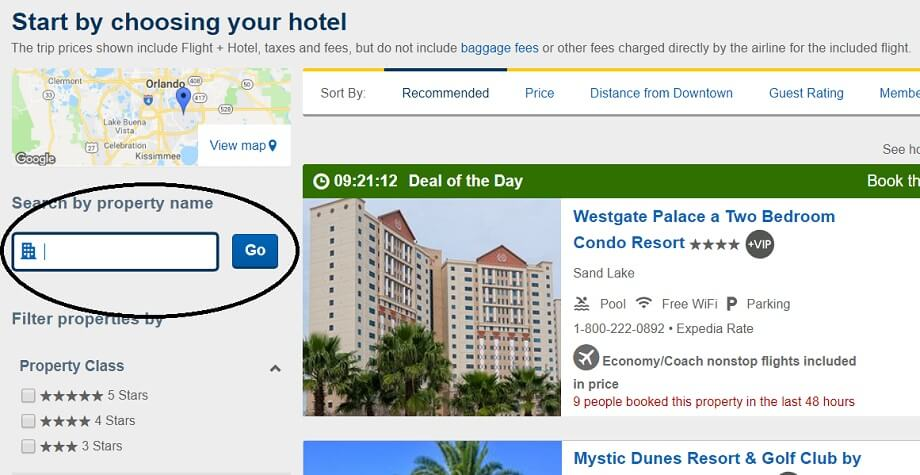 How to find Disney World property hotels on Expedia