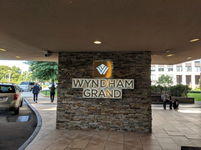 Wyndham Grand sign in front of hotel in downtown Pittsburgh