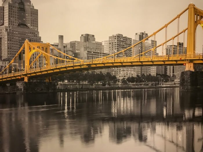 picture of yellow bridge inside Wyndham Grand Pittsburgh Downtown hotel