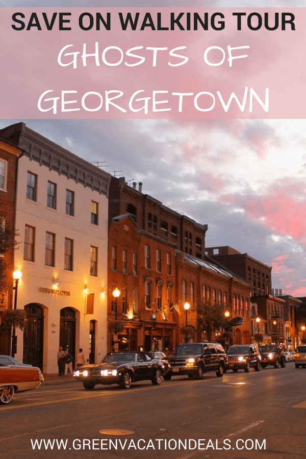 50% off spooky Ghosts of Georgetown Walking Tour. Historian takes you through beautiful Victorian row houses & gardens in famous Washington DC neighborhood telling you tales of murder, mayhem, curses & hauntings. Tour ends near Georgetown University & the infamous stairs from the Exorcist. Discounted price. Savings. Great activity if you're traveling to Washington D.C. & you're a believer or a fan of the paranormal or you want to believe