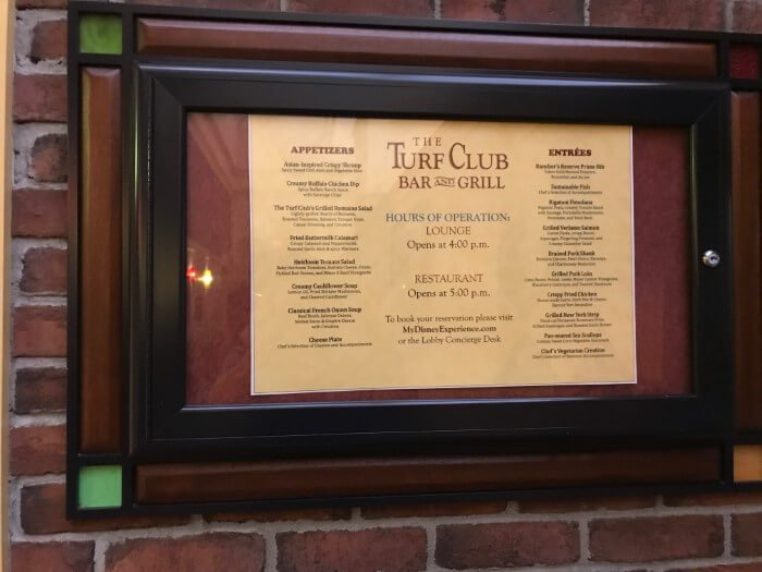 the Turf Club Bar and Grill menu at Disney's Saratoga Springs Resort