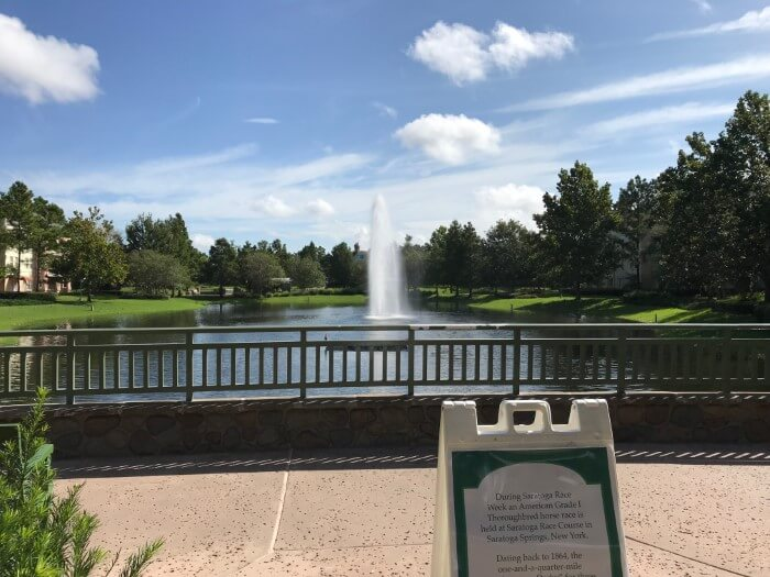 fountain in lake at Disney's Saratoga Springs Resort & Spa