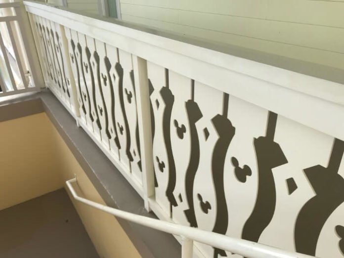 hidden Mickeys in railing at Saratoga Springs hotel