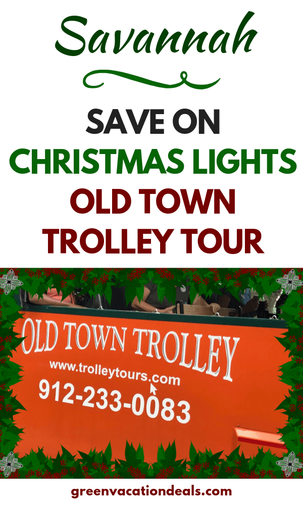 "Get discounted adult & children's tickets for Old Town Trolley's Holiday Sights Tour in Savannah, Georgia. While you ride the trolley, you'll be entertained by conductor ""elves"" with tales of beloved holiday traditions. You'll also get to sing Christmas Carols & see the beautifully decorated city squares & historic homes. Stops at the Isaiah Davenport House & the Massie Heritage Center, where you'll get to see their Christmas tree, a toy workshop & meet Santa Claus himself!"