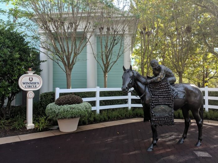 Winner's Circle and horse and jockey statue outside Disney's Saratoga Springs Resort & Spa