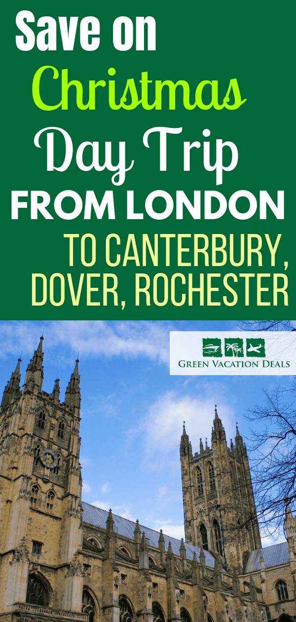 15% off Christmas Day Trip from London, England. First head to Canterbury (made famous by Chaucer), attend the Christmas services in the famous cathedral & have Christmas lunch (traditional roast turkey, pudding, etc.). Then snap great pictures at the viewpoint to the White Cliffs of Dover. Next take a walking tour of Rochester. Book lovers will enjoy seeing famous locations from Charles Dickens works. Also see medieval 11th Century Cathedral & 12th Century Castle