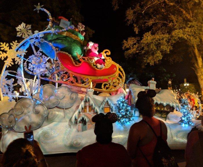 See Santa in Christmas Parade at Magic Kingdom Christmas party at WDW