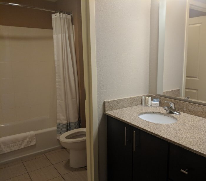 Picture of bathroom area for review of TownPlace Suites Mooresville North Carolina