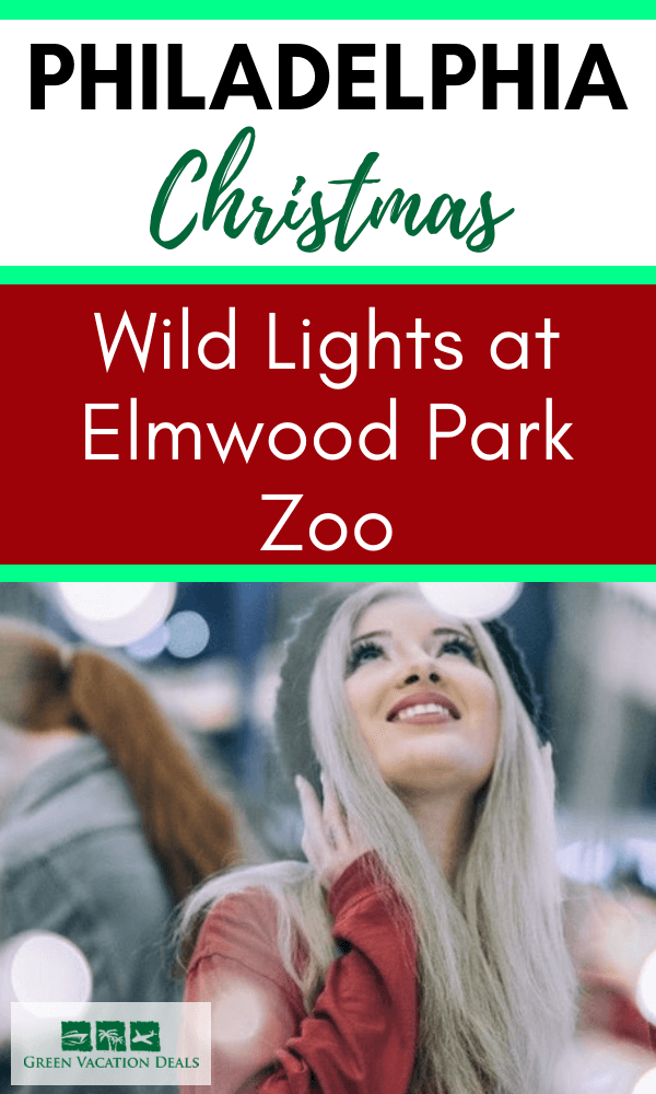 How to save 33% on admission to Wild Nights, a winter festival at Elmwood Park Zoo in Norristown, Pennsylvania near Philadelphia. Ring in the holidays with million of LED lights, Santa's Workshop with Santa photo opps & real live reindeer, Zoo Brew Beer Garden & Bar for adults, Treetop Night Adventure zip line, carousel & train ride for children, Snacks & drinks, dessert party with gingerbread cookies & cocoa & more. Family friendly Christmas event