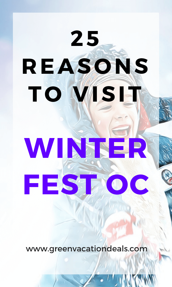 Winter Fest OC is coming to the OC Fair & Event Center in Costa Mesa. Find out 25 reasons why you should visit this family friendly Los Angeles area event: over 2 million lights, 10 holiday themed lands, Southern California's largest snow play area, snow maze, model train exhibit, live entertainment, 30' Tall Christmas Tree, ice rink, nightly fireworks, parade, Carnival rides, meet & greet with Santa, New Year Eve Countdown, season foods & cocktails, face painting, etc.