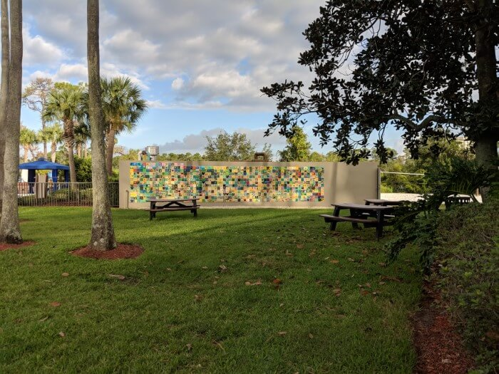 Picnic tables available for eating outside at Wyndham Garden Lake Buena Vista
