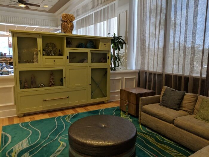 Nicely decorate lobby of Disney Springs affordable hotel on Disney World property