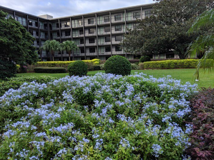 Disney Springs hotel in Orlando Florida with beautiful garden & flowers
