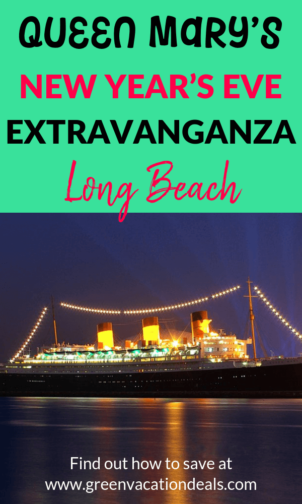 Discounted price for Queen Mary's New Year's Eve Extravanganza in Long Beach, California with great views of one of Southern California's best fireworks, White Party in the Queen's Salon, Strolling performances throughout the Promenade Deck, Cirque Berzerk, Cumbia Party on the Sports Deck, DJ Ravidrums, Burlesque in the Britannia Salon, Dueling Pianos, Drinking & dancing, lots of great food, a gypsy jazz combo, etc.