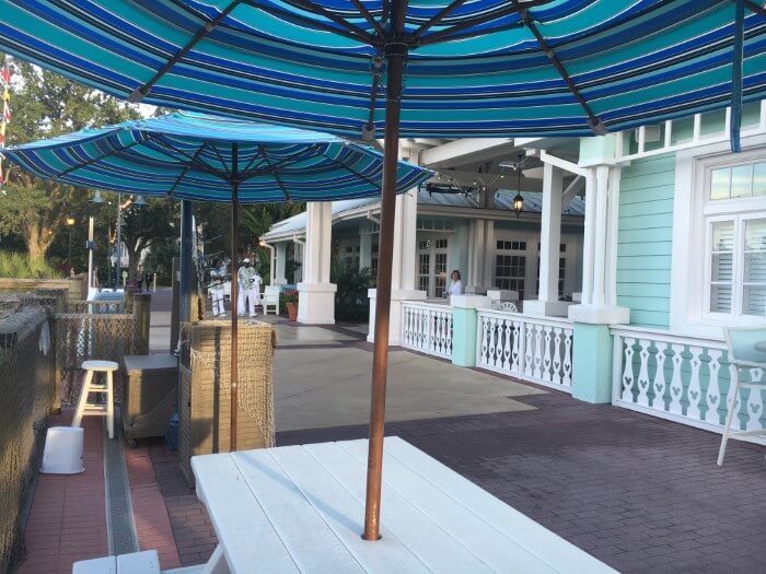 Picnic tables for quick service dining at Disney's Old Key West Resort