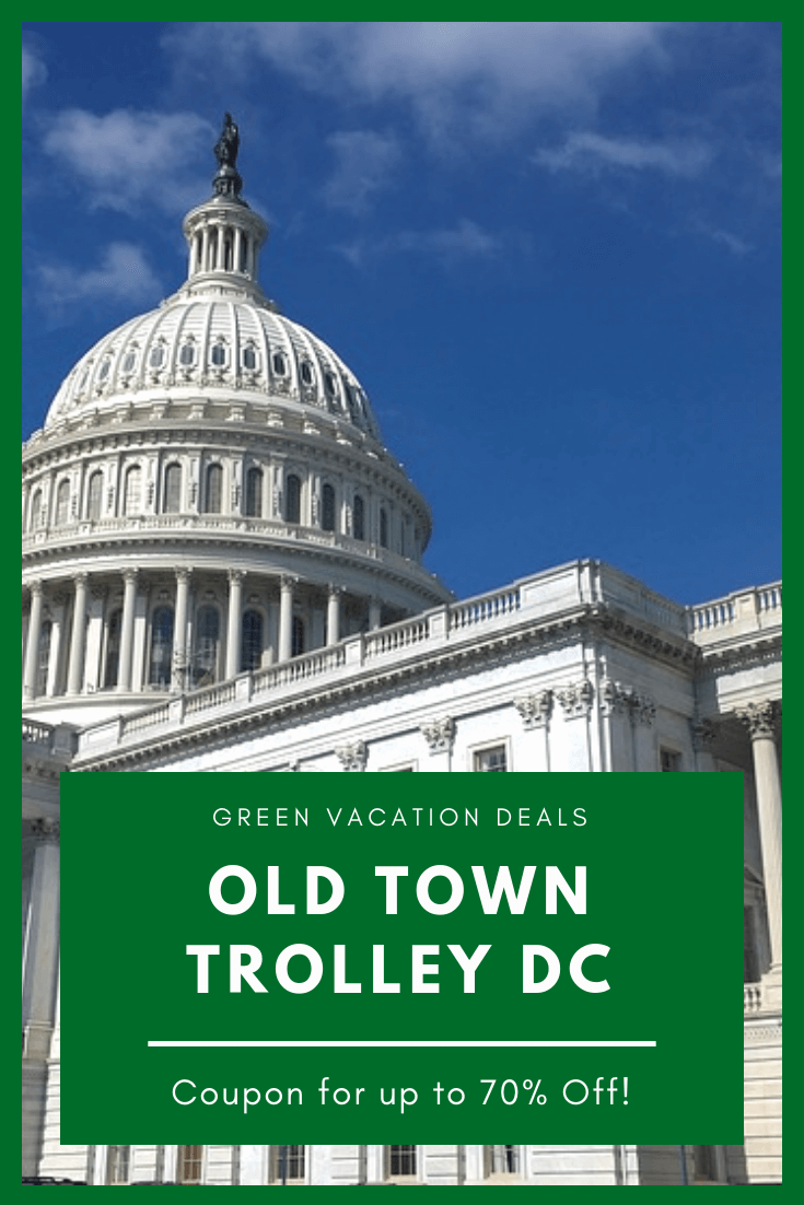Save up to 70% on Old Town Trolley Tour in Washington DC. Includes 3 days hop-on, hop-off trolley access with stops at U.S. Capitol, White House, Holocaust Museum, Memorials (Lincoln, Jefferson, US Coast Guard, FDR), Smithsonian, Newseum, National Archives, Tomb of the Unknown Soldier, JFK gravesite, etc. Also get full tour of Arlington National Cemetery, fully narrated tours, etc.