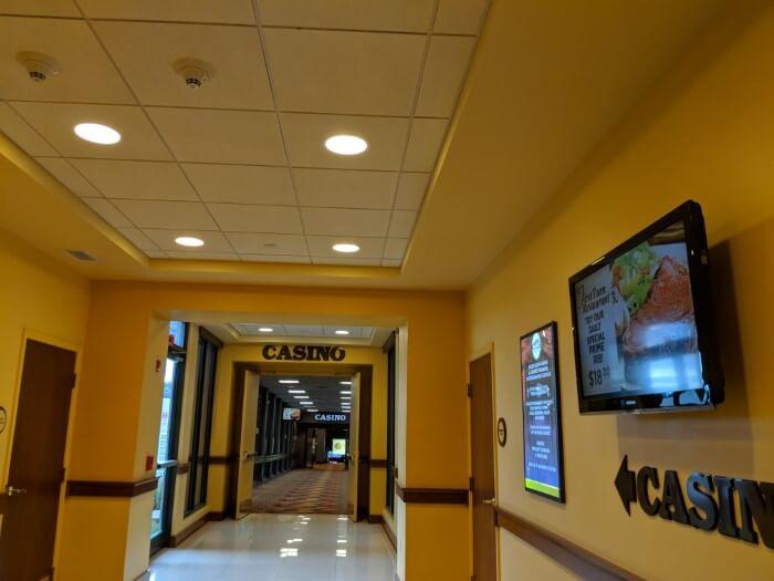 Convenient entrance to casino at Mardi Gras hotel in WV