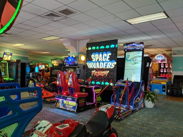 Classic & new games at arcade at Disney beach Club in orlando Florida