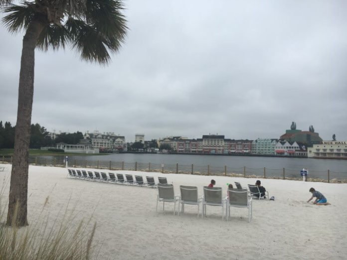 Beach area of Disney on-site hotel at Walt Disney World Resort