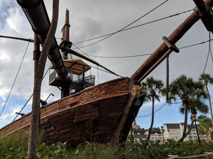 Pirate ship slide at Disney Beach & Yacht Club Resort in Orlando