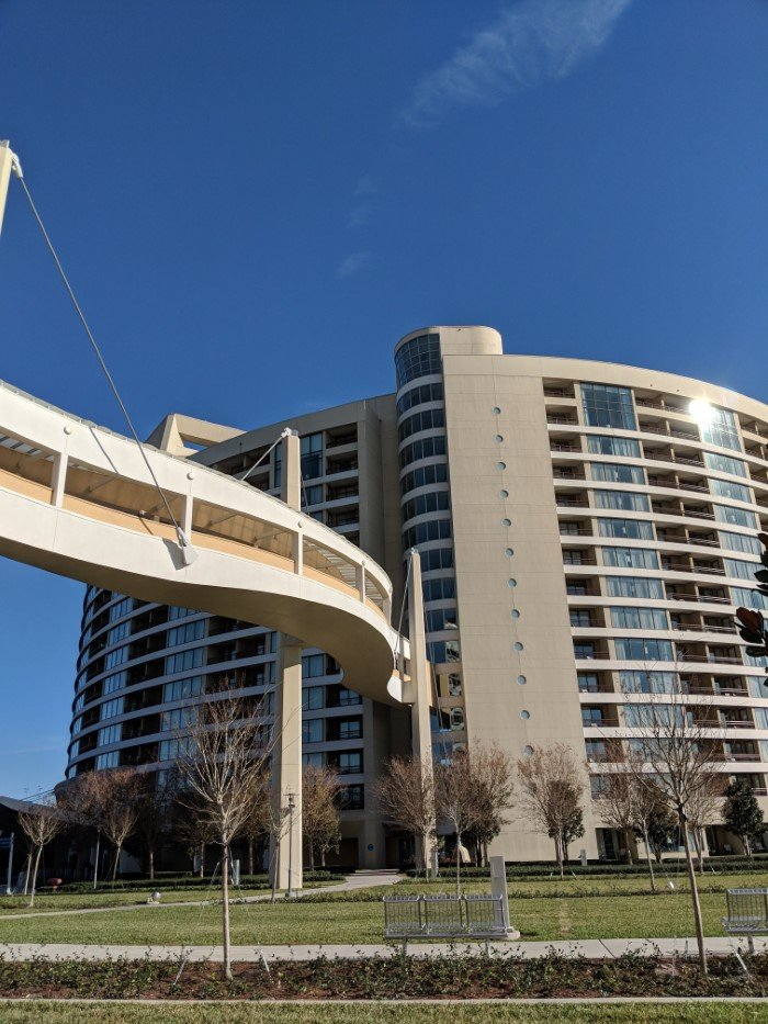 Covered walkway makes Bay Lake Tower convenient to Contemporary Resort