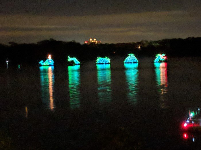 Walt Disney World's Electric Water Pageant can be seen from Bay Lake Tower balconies