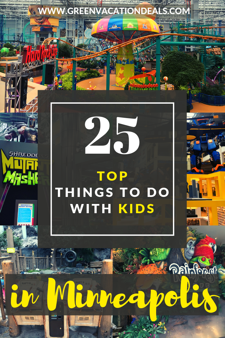 Top 25 things to do with kids in Minneapolis/Twin Cities Minnesota: theme parks, water park, mirror maze, flight simulation experience, gaming, bowling, laser tag, skating, zip lining, horseback riding, virtual reality, snorkeling with fish, go-karting, skiing, etc
