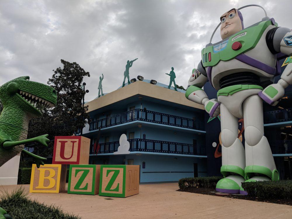 Buzz Lightyear is at All Star Movies in Walt Disney World in Orlando Florida