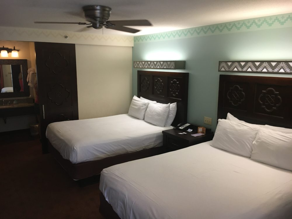 Disney Moderate hotels have huge rooms and queen beds like Coronado Springs