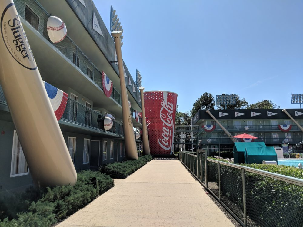 Baseball themed section of Disney's All Star Sports Resort in Orlando Florida