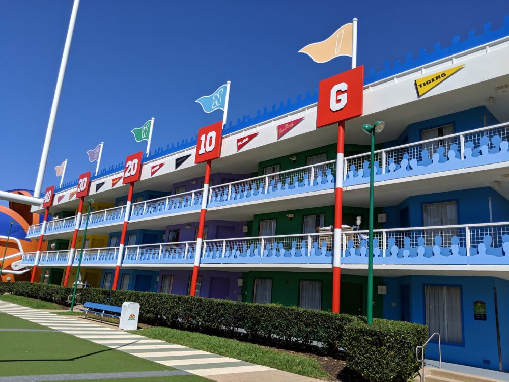 The yard lines at Disney All Star Sports football section make it easier to find your room