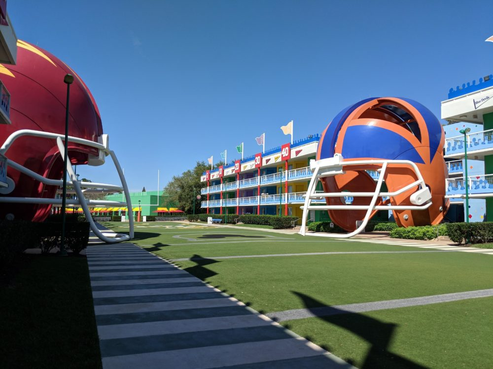 A look at the brilliant theming of Disney's sports themed hotel in Orlando Florida