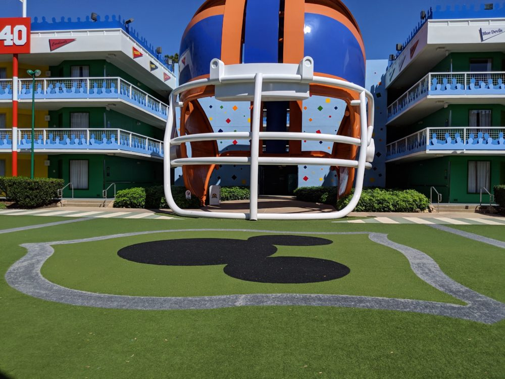 The wonderful decor of Disney's football part of All Star Sports