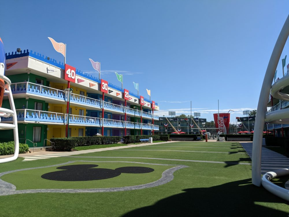 Mickey on the football field at Disney World value hotel Florida