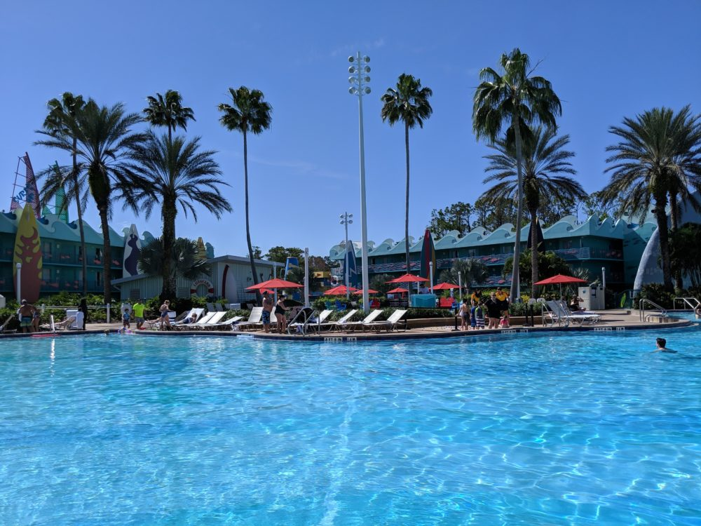 The amazing pool at Disney's All Star Sports Resort in Orlando Florida