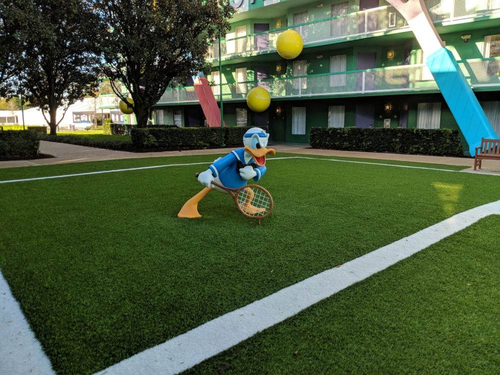 Donald Duck is in tennis section of Disney World's All Star Sports Resort